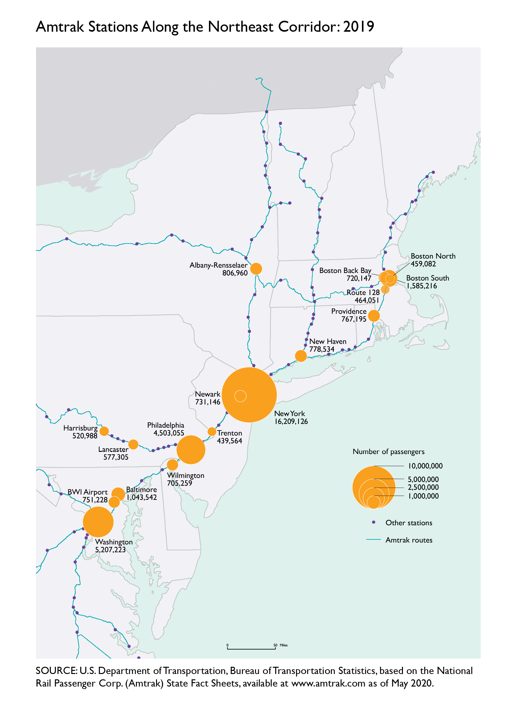 Map of amtrak stations along the Northeast Corridor