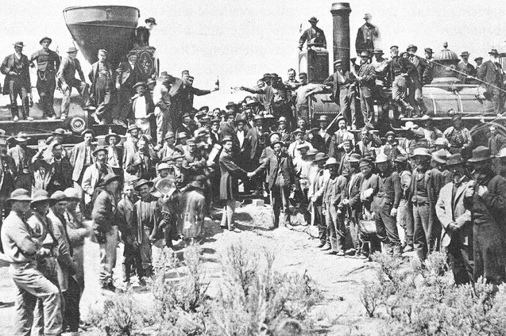 Last spike ceremony at Promontory Rock, Utah, May 10, 1869