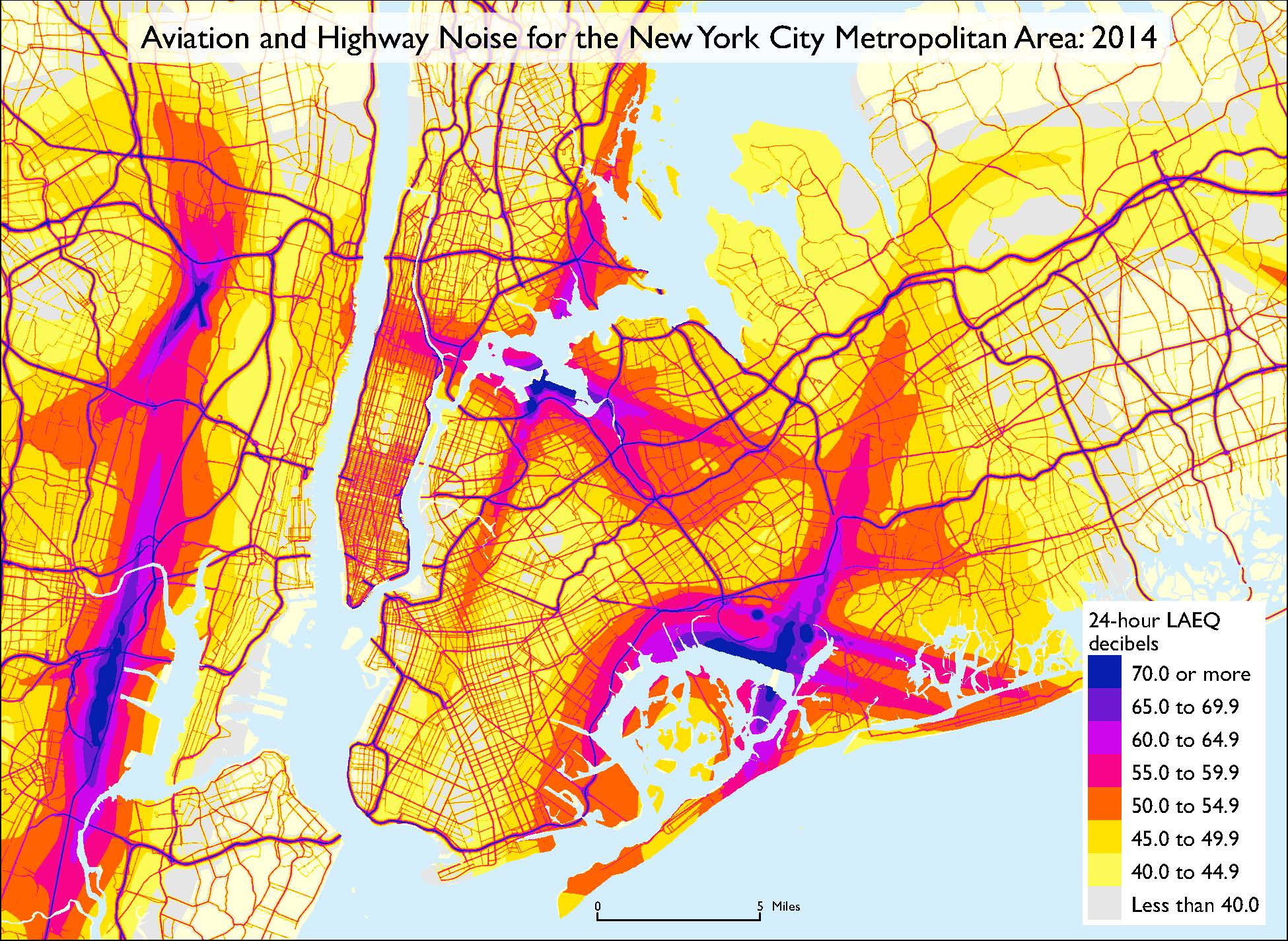 Aviation and Highway Noise for the New York City Metropolitan Area: 2014