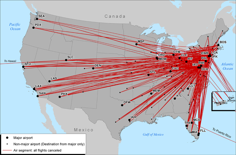 Figure 1: Air Segments on Which all Flights Departing From a Major Airport Were Canceled: Feb, 10, 2010. If you are a user with disability and cannot view this image, call 800-853-1351.