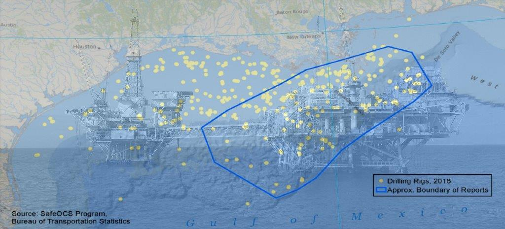 Map of oil rigs in Gulf of Mexico against backdrop of photo of 2 offshore oil rigs